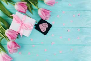 Фотографии Тюльпан День святого Валентина Розовый Сердечко Цветы