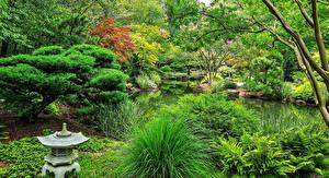 Картинка Штаты Сады Пруд Деревья Кусты Gibbs Gardens
