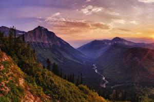 Картинка Штаты Парки Рассветы и закаты Горы Леса Речка Пейзаж Glacier National Park Природа