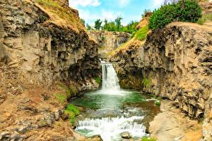 Обои Штаты Парки Водопады Утес White River Falls State Park Природа