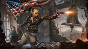 Картинки Штаты Пистолеты Homefront Флаг Выстрел The Revolution Игры Девушки