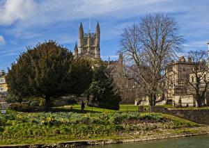 Картинки Великобритания Дома Деревья Bath Города