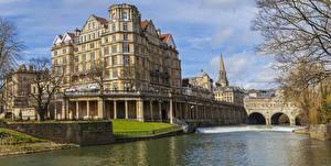 Обои Великобритания Дома Речка Bath Города