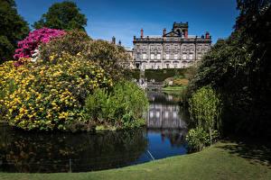Обои Великобритания Парки Здания Пруд Рододендрон Кусты Biddulph Grange Garden Природа