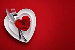Фотография День святого Валентина Нож Красный фон Вилка столовая Сердечко