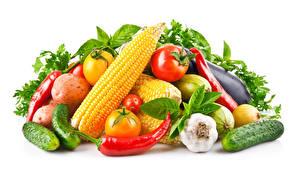 Обои Овощи Кукуруза Чеснок Перец Огурцы Томаты Белый фон Продукты питания