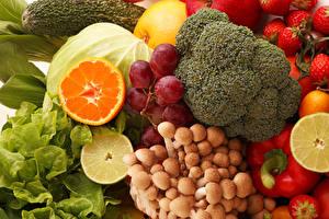 Фотография Овощи Фрукты Грибы Виноград Продукты питания