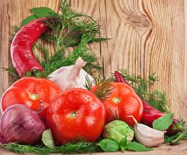 Фотографии Овощи Лук репчатый Томаты Чеснок Перец Укроп
