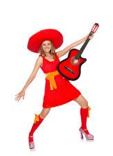 Обои Белом фоне Блондинка Радость Гитара Платье Шляпы девушка
