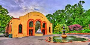 Фотография Австралия Мельбурн Здания Фонтаны Скульптуры Conservatory of Fitzroy Gardens Города