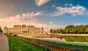 Фотографии Австрия Вена Пруд Дворец Газон Schloss Belvedere Города