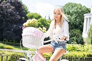 Картинки Велосипедный руль Блондинка Корзина Очки Шорты Девушки