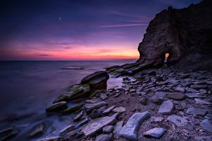 Фото Болгария Берег Рассветы и закаты Камень Утес Black Sea coast Природа