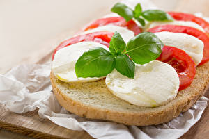 Фото Бутерброды Хлеб Сыры Листья