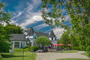 Картинки Канада Дома Кафе Уличные фонари Andrews New Brunswick