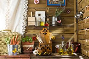 Картинка Морковь Оливки Чеснок Кухня Бутылка Пища