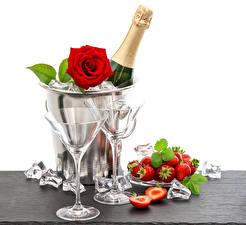 Обои Шампанское Розы Клубника Бутылка Бокалы Лед Еда