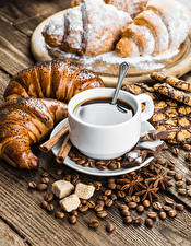 Фотография Кофе Выпечка Шоколад Круассан Чашка Зерна Сахар Пища