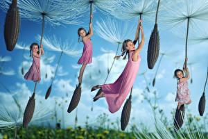 Картинки Одуванчики Забавные Девочки Летящий Ребёнок Юмор