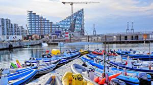Фотография Дания Здания Реки Пристань Лодки Aarhus Midtjylland Города