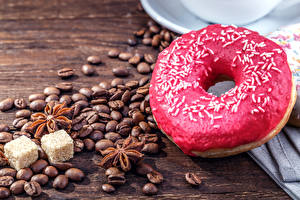 Картинка Пончики Кофе Бадьян звезда аниса Зерна Сахар Пища