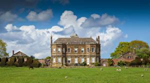 Фото Англия Здания Луга Особняк Дизайн Thenford House Northamptonshire Города