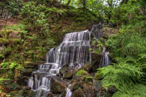 Фотографии Англия Водопады Камень HDRI Утес Мох Hatch brook waterfall