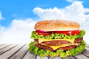 Картинка Быстрое питание Гамбургер Овощи Доски