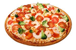 Картинки Быстрое питание Пицца Томаты Креветки Вблизи Белом фоне Еда