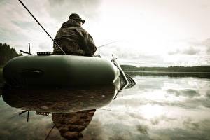 Обои Ловля рыбы Речка Лодки Спорт
