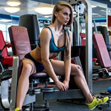 Фотографии Фитнес Шатенка Физические упражнения Руки Сидящие Спорт