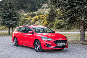 Картинка Ford Красный Металлик 2018 Focus ST-Line Turnier Worldwide Автомобили