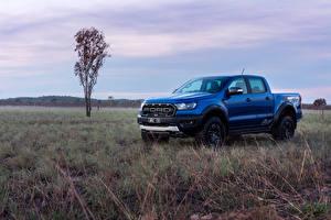 Обои Форд Пикап кузов Голубой 2018 Ranger Raptor Авто