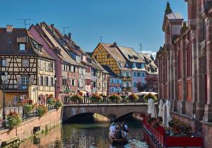 Картинки Франция Здания Мосты Водный канал Colmar