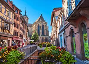 Обои Франция Здания Храмы Улица Ограда Colmar Города