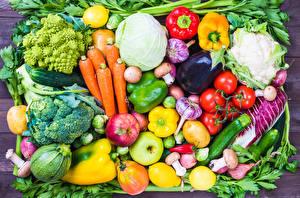 Картинка Фрукты Овощи Перец Морковь Яблоки Помидоры Чеснок Капуста Баклажан Еда