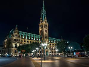 Фото Германия Гамбург Дома Уличные фонари В ночи Города