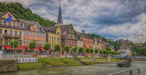 Обои Германия Дома Реки Причалы Улица Sankt Goar Города