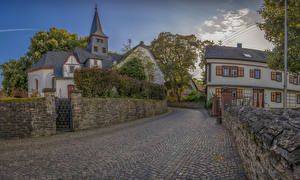 Обои Германия Дома Храмы Дороги Улица Забор Miehlen Города