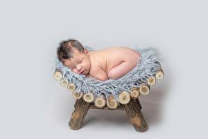 Обои Серый фон Младенца Спят Ребёнок