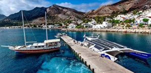 Картинка Греция Здания Пирсы Парусные Корабли Горы Tilos