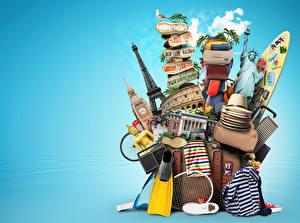 Фото Сумка Радио Чемоданы Шляпа Туризм 3D Графика