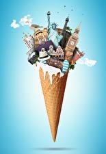 Картинки Шляпе Чемоданы Биг-Бен Статуя свободы Туризм 3D Графика
