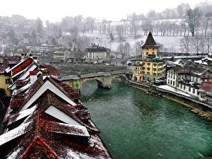 Картинка Дома Речка Мост Берн Швейцария