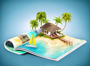 Обои Дома Тропики Курорты Журнал Пальмы 3D Графика