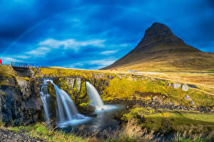 Картинки Исландия Водопады Утес Мох Borgarnes Myrasysla