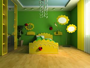 Фотографии Интерьер Детская комната Дизайн Кровать 3D Графика