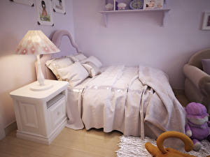 Фото Интерьер Детская комната Дизайн Кровать Лампа