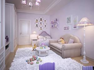 Картинка Интерьер Детская комната Игрушки Дизайн Диван Ковер Лампа