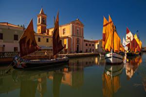 Фото Италия Дома Реки Корабли Парусные Cesenatico Emilia Romagna Города